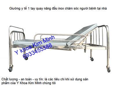 Giường bệnh 1 tay quay inox chăm sóc người bệnh nằm - Y Khoa Kim Minh