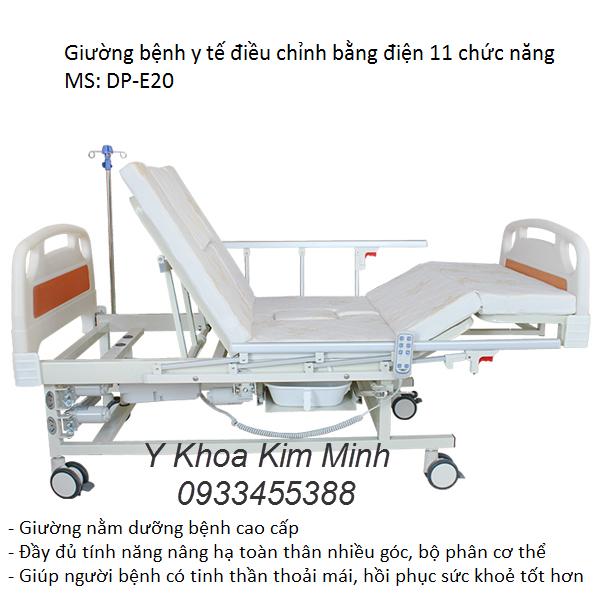 Giường bệnh y tế có bô vệ sinh, tay quay nâng hạ đầu chân bằng điện - Y Khoa Kim Minh