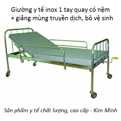 Giường bệnh y tế 1 tay quay có bô vệ sinh, nệm bán tại Y Khoa Kim Minh