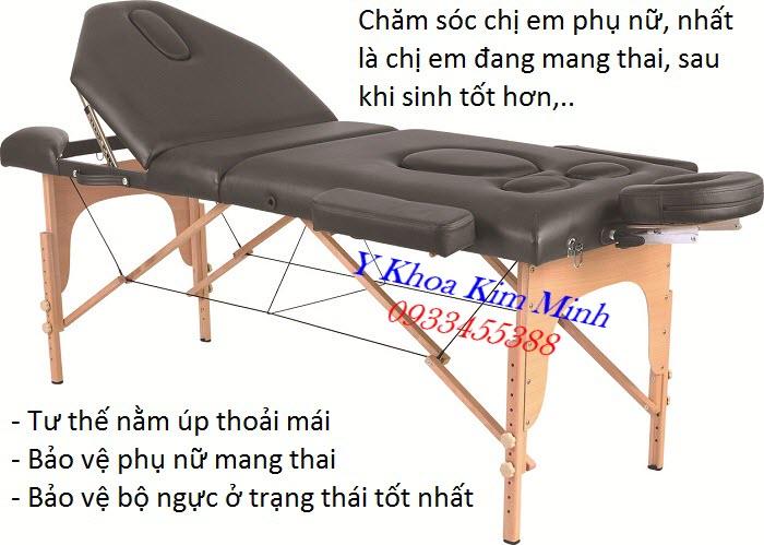 Giường massage vali di động 3 khúc chân gỗ chuyên chăm sóc sức khoẻ phụ nữ trước và sau khi sinh GX-2053 - Y khoa Kim Minh