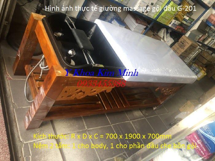 Giường gội đầu kết hợp masasge khung chân gỗ G-201 - Y khoa Kim Minh