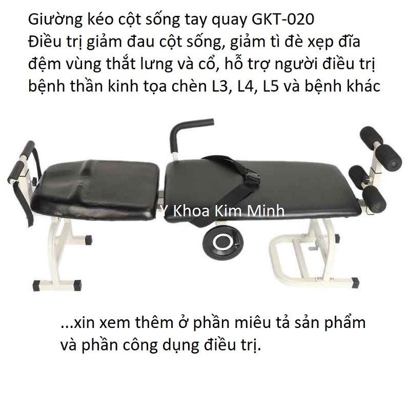 Giường kéo cột sống lưng cổ bằng tay quay GKT-020 sử dụng cá nhân tại gia đình