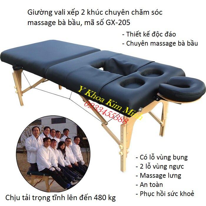 Giường vali xếp 2 khúc dùng massage chăm sóc da bà bầu GX-205 - Y khoa Kim Minh
