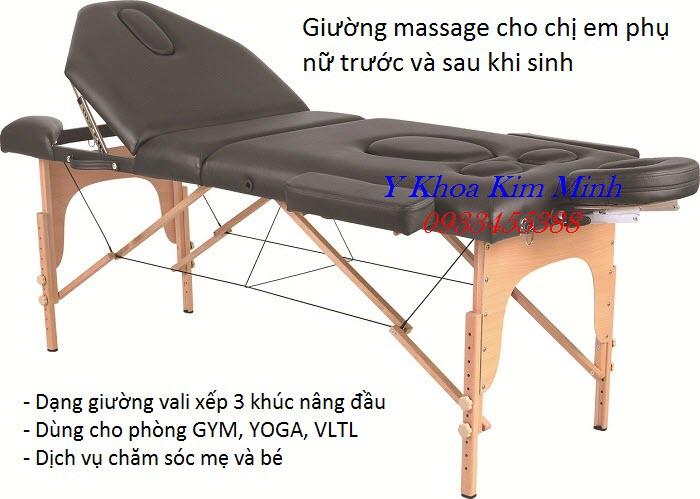 Giường massage vali 3 khúc có nâng đầu chăm sóc phụ nữ trước và sau khi sinh GX2053 - Y Khoa Kim Minh