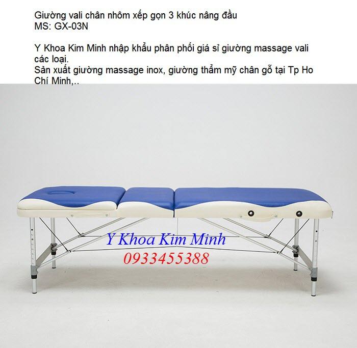 Giường massage vali chan nhom nang dau chat luong ban tai Tp Ho Chi Minh hotline 0933455388
