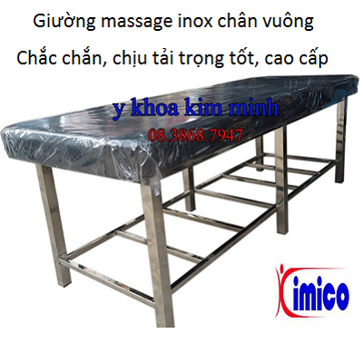 Giường massage inox chân vuông dùng cho dịch vụ xông hơi, sản xuất giá sỉ tại Y khoa Kim Minh