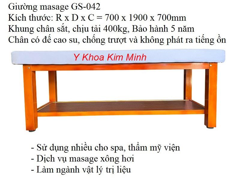 GS-042 là loại giường masage body, sự lựa chọn hàng đầu hiện nay của các dịch vụ chăm sóc da - Y khoa Kim Minh