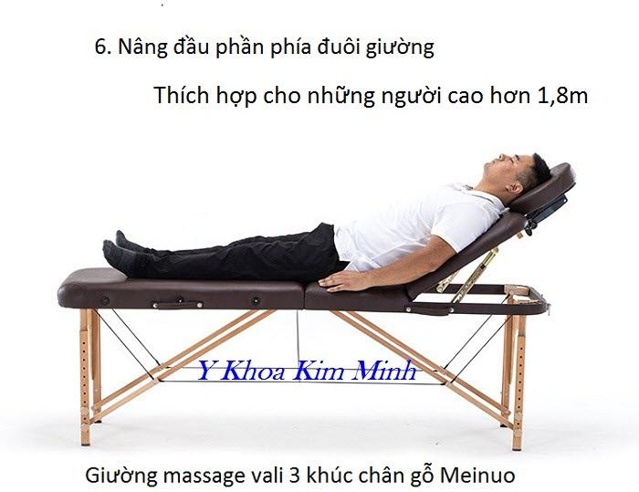 Giường masasge vali nâng đầu 3 khúc chân gỗ Meinuo - Y khoa Kim Minh