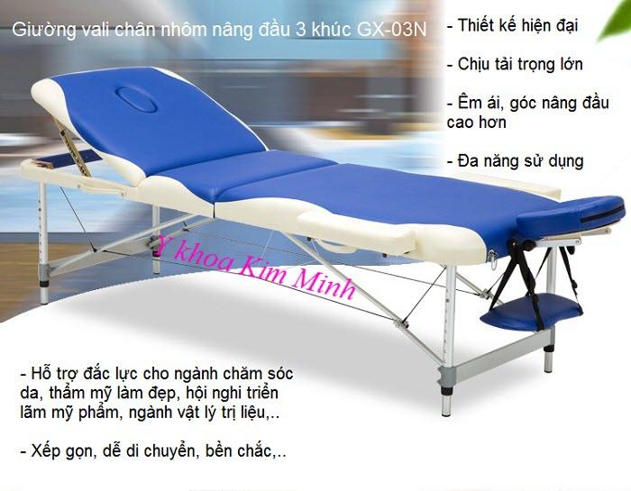 Noi ban giuong massage vali chan nhom nang dau 3 khuc GX-03N - Y khoa Kim Minh
