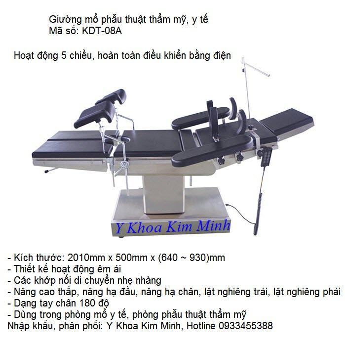 Giuong mo y te dien KDT-08A ban tai Y Khoa Kim Minh so dien thoai 0933455388