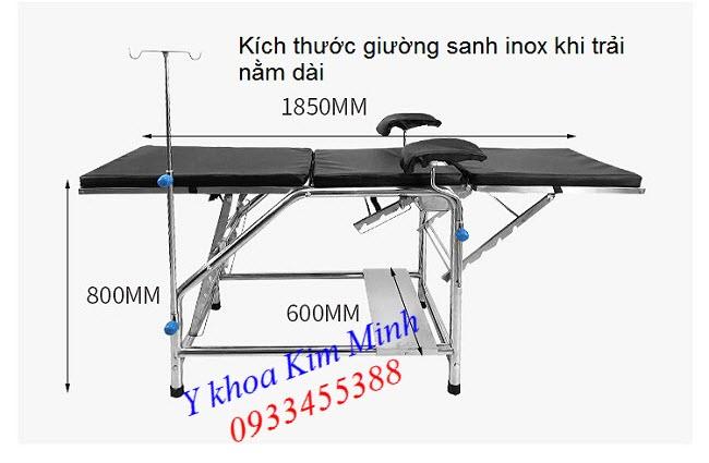 Khi trải nằm dài giường sanh đẻ inox y tế G034-01 - Y Khoa Kim Minh 0933455388