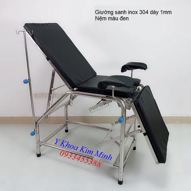 Giường sanh đẻ y tế inox 304 dày 1mm nệm màu đen - Y khoa Kim Minh 0933455388