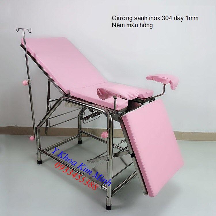 Giường sanh đẻ inox 304 dày 1mm nệm màu hồng - Y khoa Kim Minh 0933455388