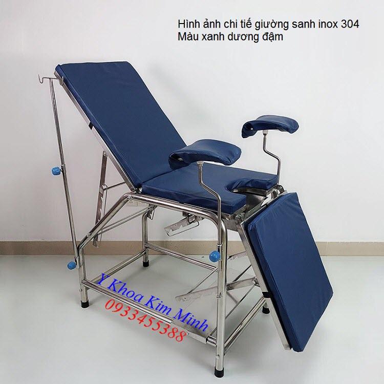 Giường sanh y tế inox 304 nệm màu xanh dương đậm - Y khoa Kim Minh 0933455388