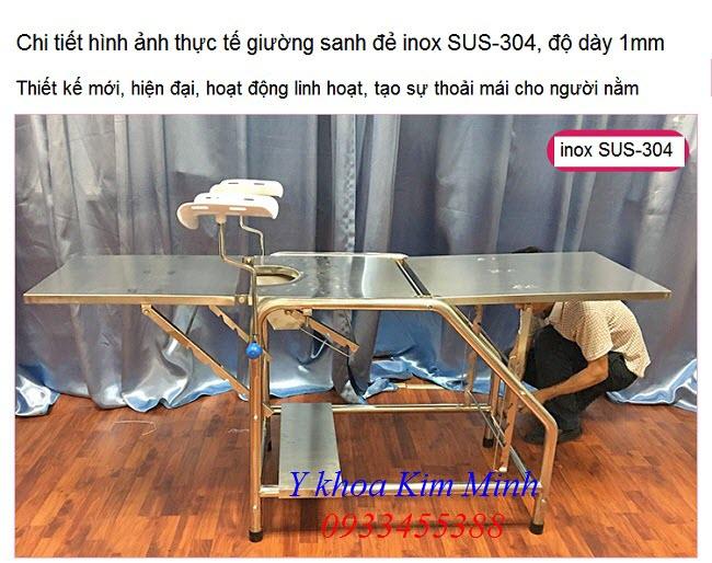 Hình ảnh thực tế giường sanh đẻ y tế inox 304 bán tại Tp Hồ Chí Minh - Y Khoa Kim Minh 0933455388