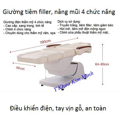 Giường tiêm filler, chích giảm béo, nâng mũi điều chỉnh điện 4 chức năng cao cấp - Y Khoa Kim Minh