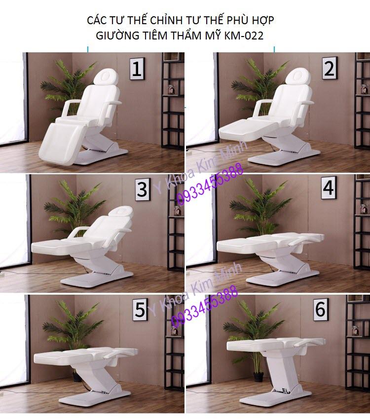 Hình ảnh tư thế chỉnh hướng của giường tiêm thẩm mỹ điều khiển điện KM-022 - Y Khoa Kim Minh