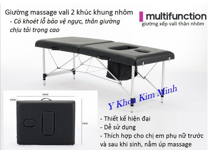 Giường xếp vali 2 khúc thân khung nhôm có lỗ bảo vệ ngực khi massage nằm úp - Y khoa Kim Minh