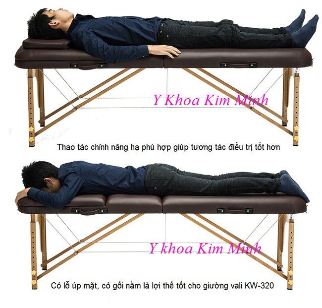 Giường va li chân gỗ nâng đầu có gối nằm KW-320 - Y khoa Kim Minh
