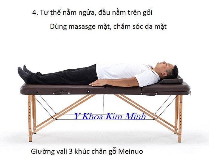 Giuong massage vali xep 3 khuc nhang hieu Meinuo chan go - Y Khoa Kim Minh