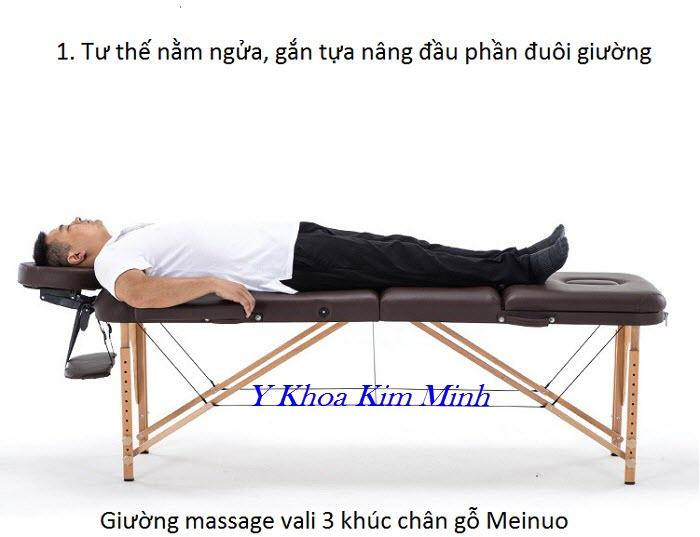 Giuong xep vali chan go 3 khuc Meinuo, tu the massage nam ngua - Y Khoa Kim Minh