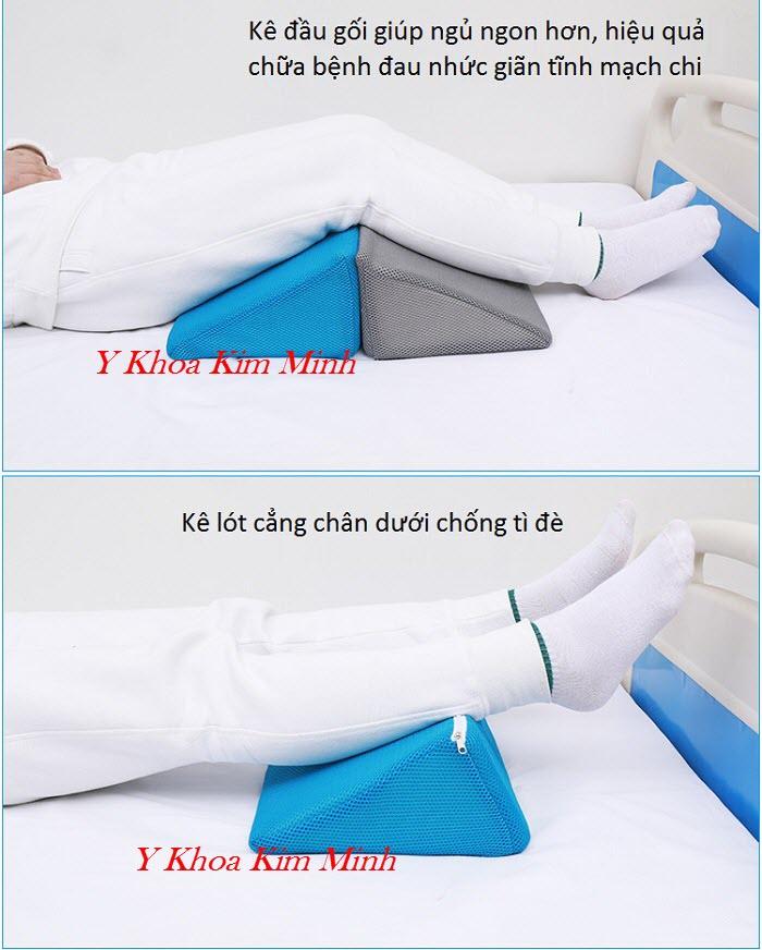 Gối lưới tam giác lót kê chân cho người bệnh giãn tĩnh mạch chân - Y Khoa Kim Minh