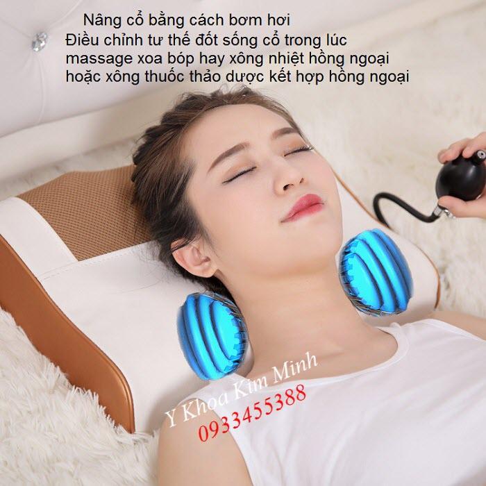 Gối massage cổ có bơm hơi trị liệu giảm đau và điều trị thoái hóa đốt sống cổ
