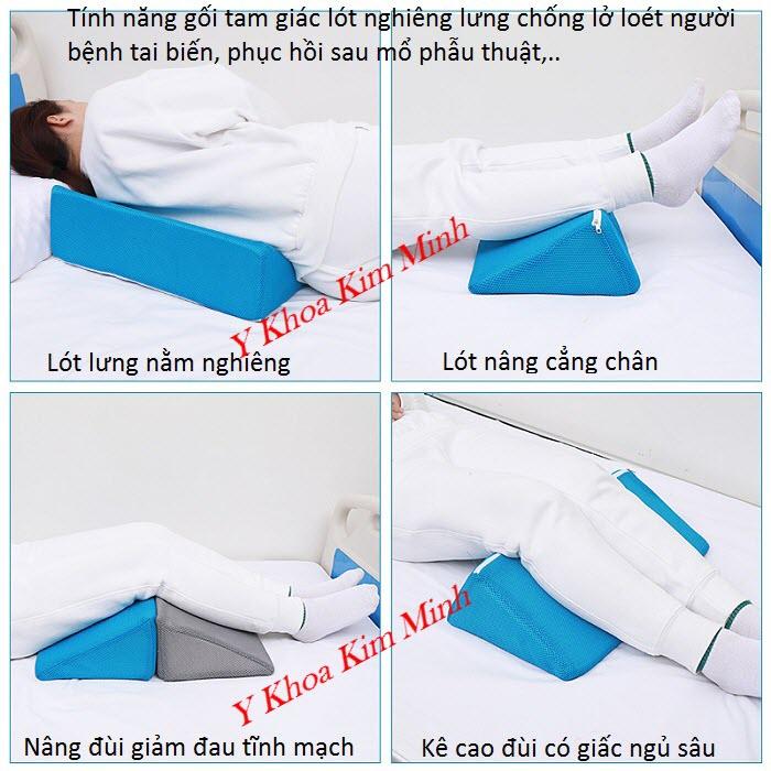 Gối tam giác lót nghiêng lưng cho người bệnh nằm liệt giường, người bệnh bị tai biến đốt quỵ - Y Khoa Kim Minh