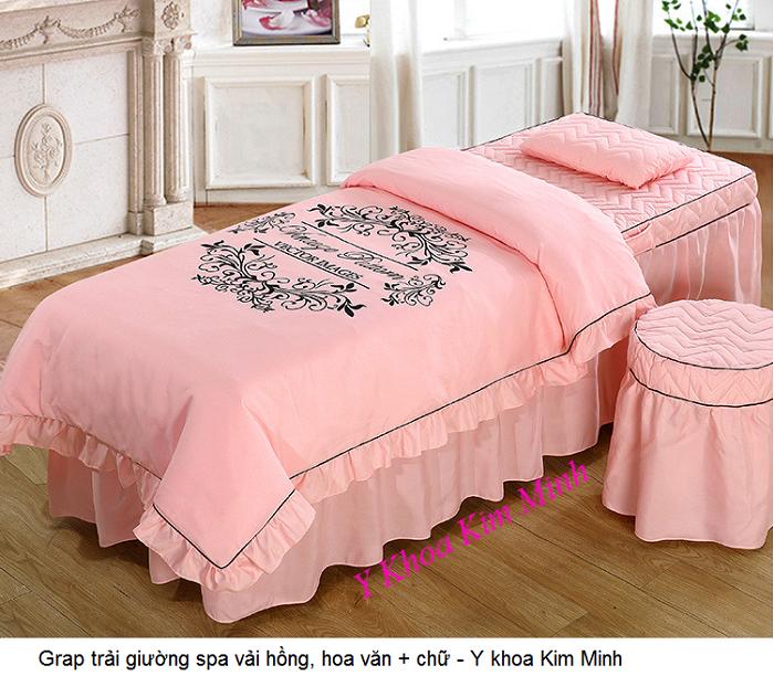 Grap trải giường spa vải hồng in hoa văn + chữ - Y khoa Kim Minh