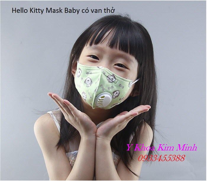 Hello Kitty Mask Baby có van thở, lọc bụi min - Y Khoa Kim Minh