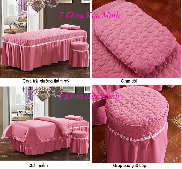 Hình ảnh thực tế bộ chăn gra gối mềm vải màu hồng sâm 4 món GP-02T - Y Khoa Kim Minh
