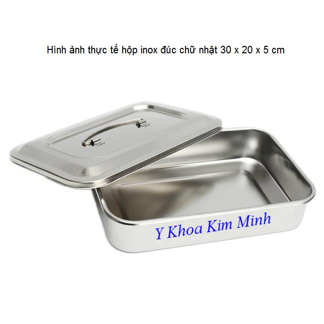 Hình ảnh hộp inox y te chữ nhật 30 x 20 x 5 cm - Y Khoa Kim Minh