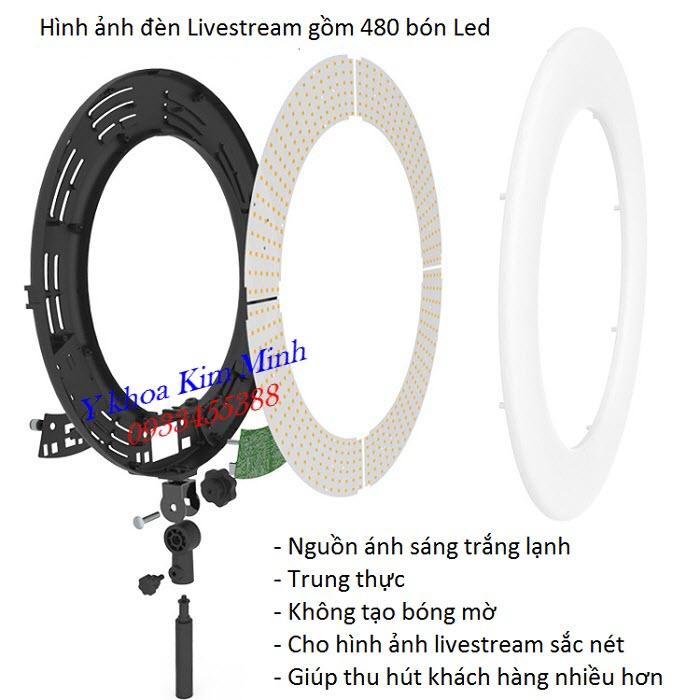 Hình ảnh thực tiế đèn livestream go62mm 480 bóng led lạnh cao cấp chuyên nghiệp cho hình ảnh trung thực - Y khoa Kim Minh