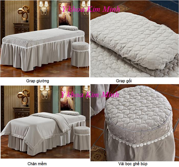 Hình ảnh bộ gra chăn gra giường 4 món vải màu xám tro GP-02T - Y khoa Kim Minh