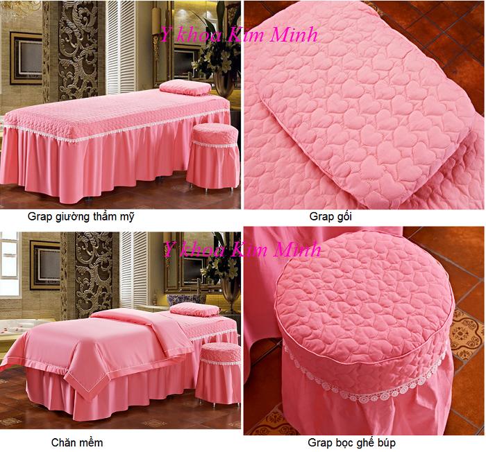 Bộ grap giường 4 món vải màu hồng tươi GP-02T - Y Khoa Kim Minh