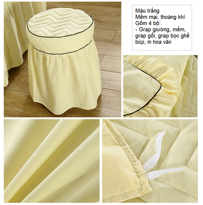 Hình ảnh thực tế grap giường vải vàng trải gường massage - Y khoa Kim Minh