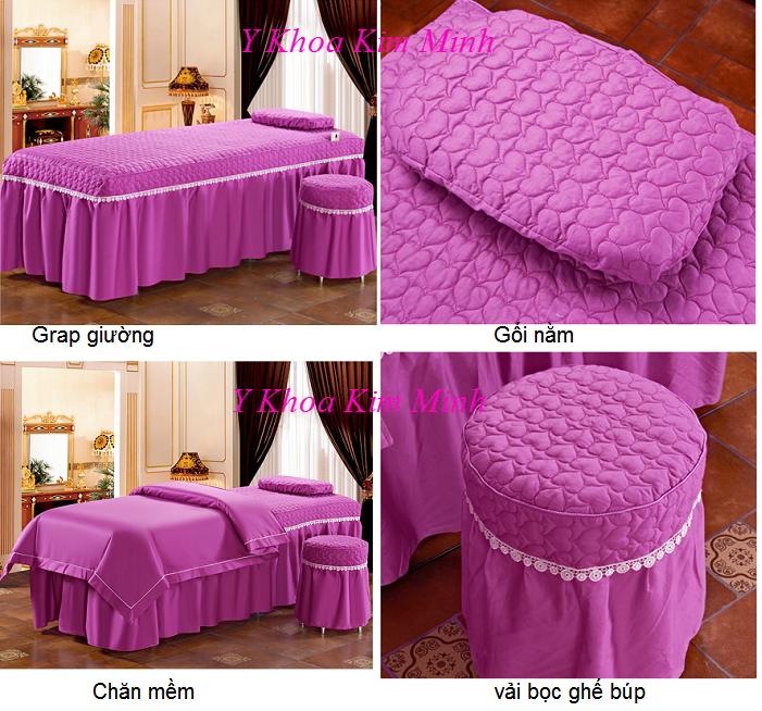 Hình ảnh gra giường thẩm mỹ GP-02T vải màu Blueberry - Y khoa Kim Minh