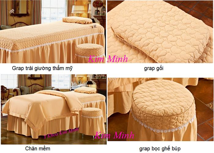 Hình ảnh bộ chăn gra gối mềm 4 bộ vải màu hồng cam GP-02T - Y Khoa Kim Minh