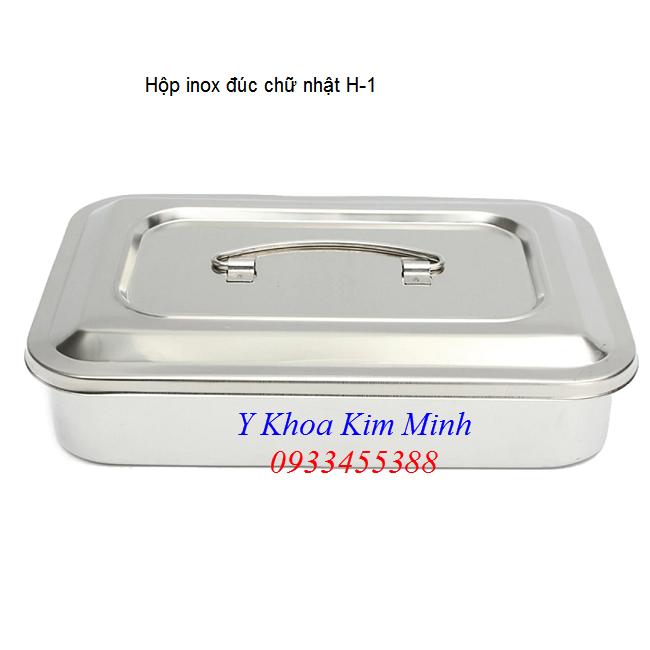 Noi ban hop inox duc chu nhat hang nhap khau H-1 kich thuoc 30x20x5cm - Y khoa Kim Minh