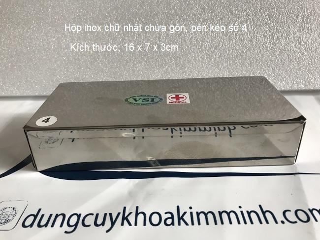 Hộp inox số 4 dùng trong y tế đựng bông băng gạc đã tiệt trùng - Y khoa Kim Minh