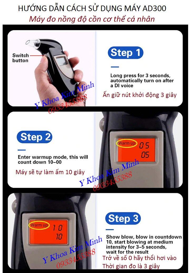 Hướng dẫn cách dùng máy đo kiểm tra nồng độ cồn hơi thở AD3000 cá nhân - Y khoa Kim Minh