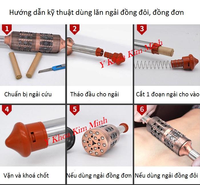 Hướng dẫn cách sử dụng và cho ngải vào con lăn đồng đôi, lăn đồng đơn - Y Khoa Kim Minh