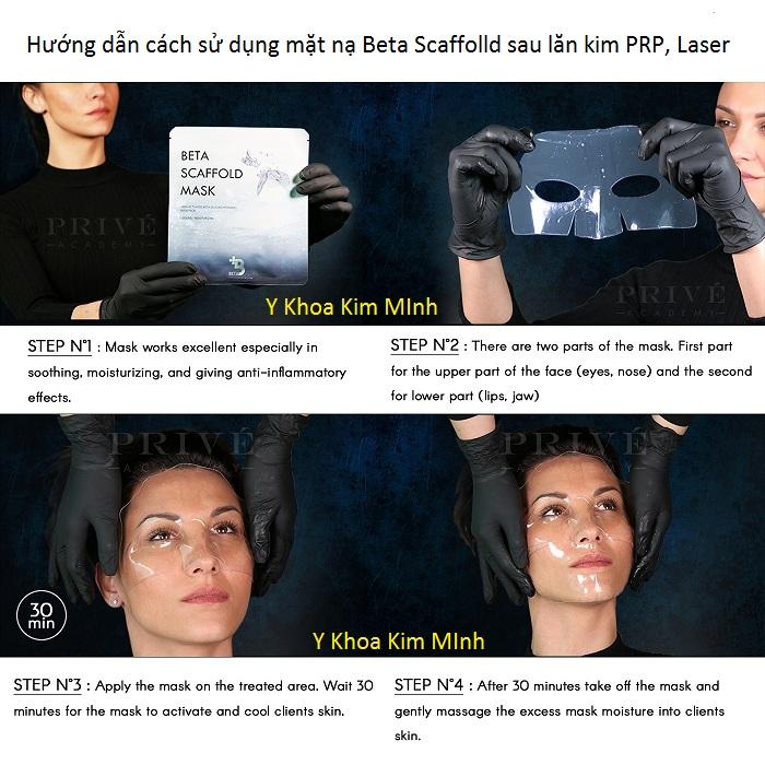 Hướng dẫn cách sử dụng mặt nạ Beta Scaffold làm dịu da ngăn tổn thương sau lăn kim PRP Laser - Y Khoa Kim Minh