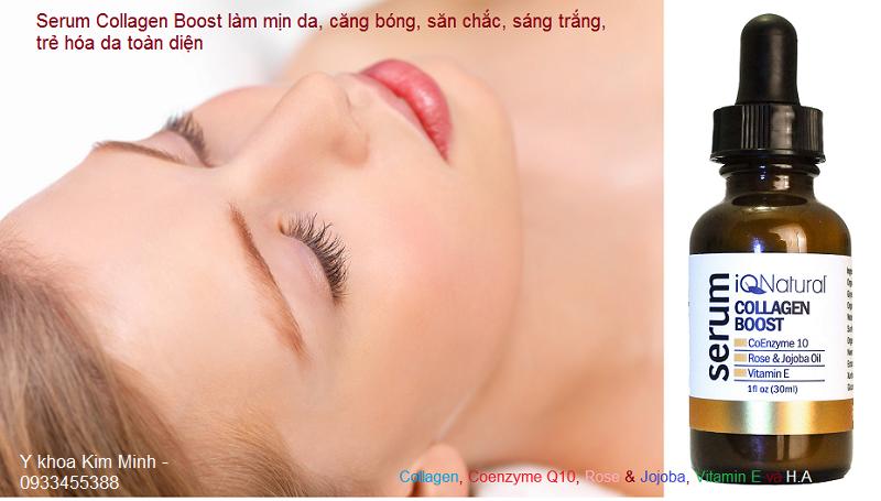Huyết thanh, Serum Collagen Boost Coenzyme Q10, Vitamin E làm mịn chống nhăn nâng cơ trẻ hóa da nhập Mỹ 30ml - Y Khoa Kim Minh 0933455388