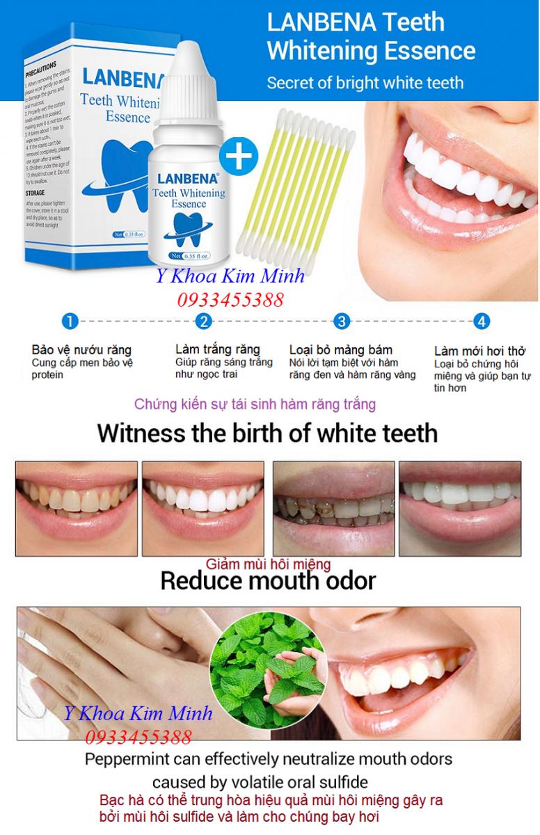 Làm trắng răng chữa hôi miệng bằng huyết thanh Lanbena - Y khoa Kim Minh - 0933455388