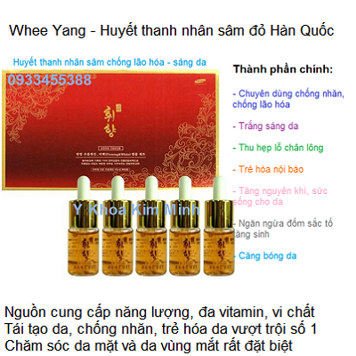 Huyết thanh nhân sâm đỏ chuyên xóa nhăn và trẻ hóa da mặt và da vùng mắt Hàn Quốc - Y Khoa Kim Minh