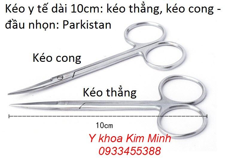 Kéo y tế đầu nhọn cong dài 10cm Parkistan dùng trong vi tiểu phẩu - Y Khoa Kim Minh