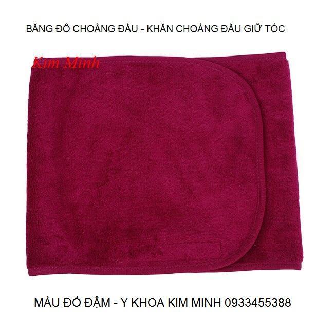 Khăn choàng đầu giữ tóc màu đỏ đậm sử dụng tại spa - Y Khoa Kim Minh 0933455388