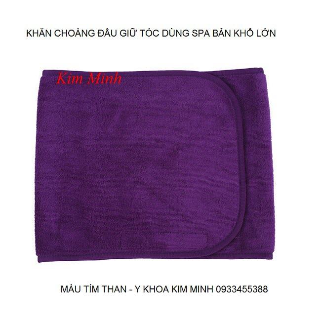 Khăn choàng đầu giữ tóc màu tím than bản khổ lớn dùng cho spa - Y Khoa Kim Minh 0933455388