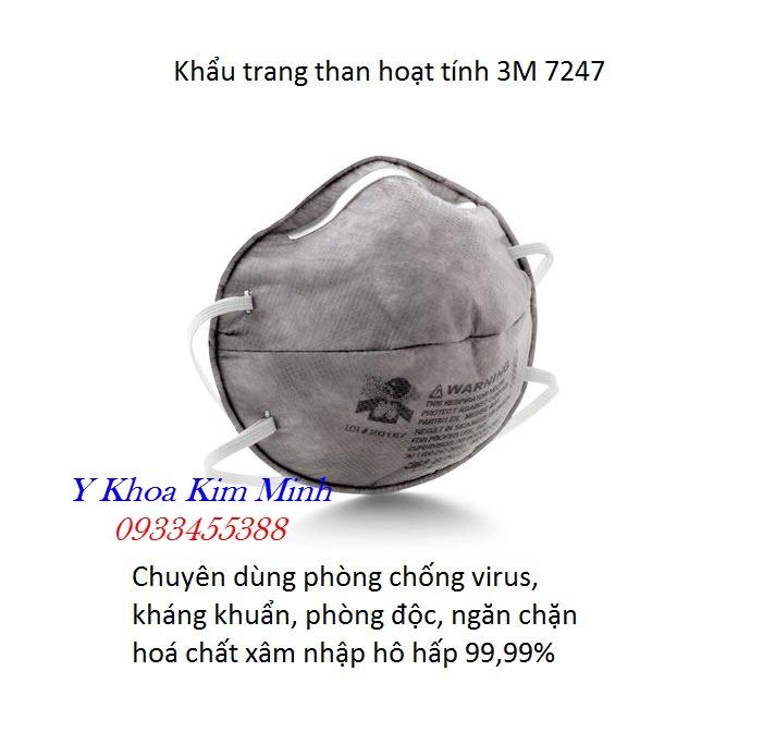 3M 8247 là loại khẩu trang than hoạt tính chuyên phòng chống lây nhiễm virus gây bệnh viêm hô hấp cấp - Y Khoa Kim Minh